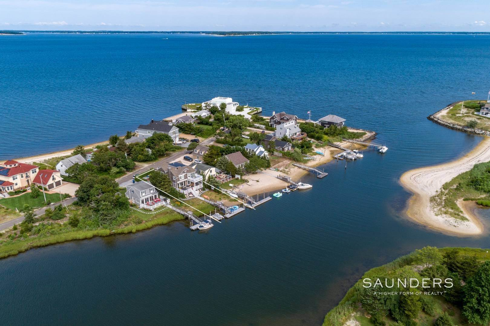 Single Family Homes at Southampton Shores Waterfront Boater's Dream 34 East Beach Drive, Southampton, Southampton Town, NY 11968