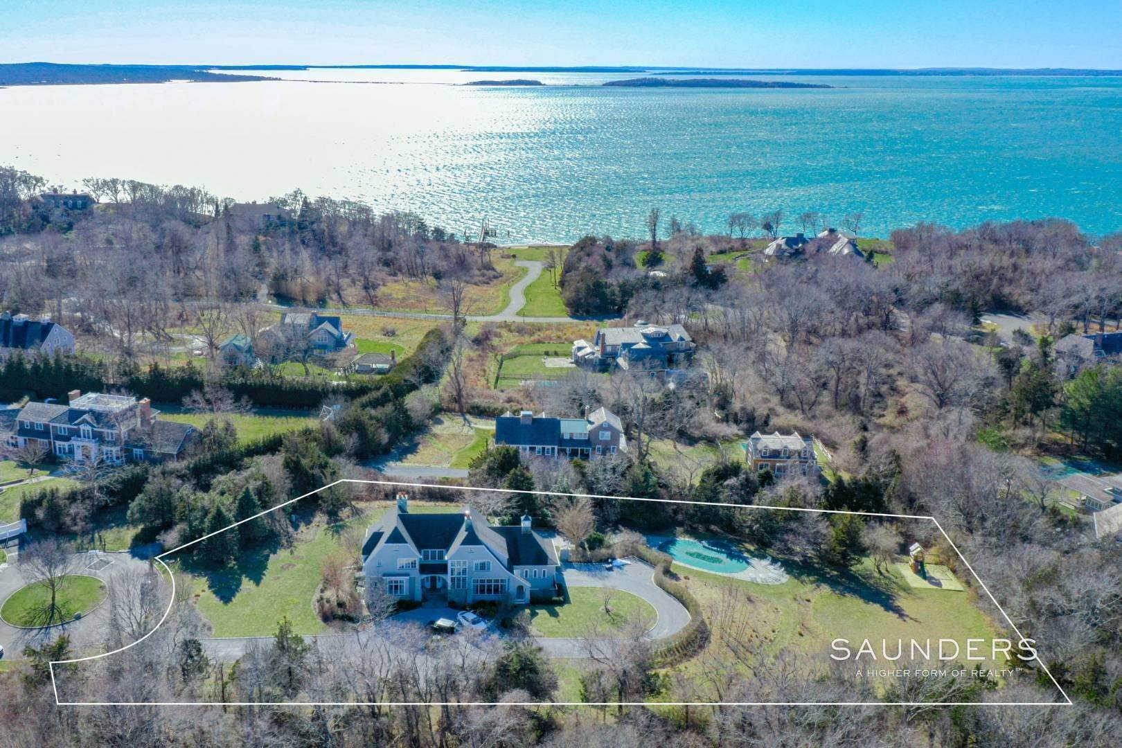 Single Family Homes for Sale at Hilltop Estate With Sunset Water Views 40 Barclay Drive, Sag Harbor, Southampton Town, NY 11963