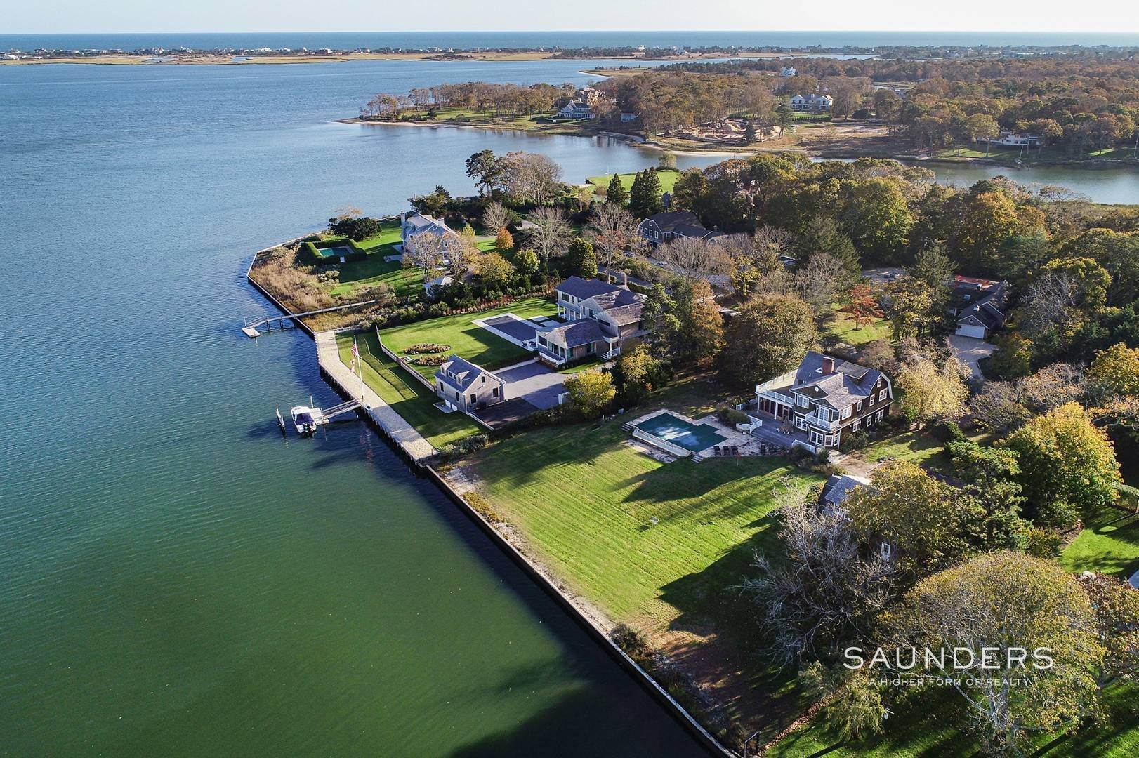 Single Family Homes for Sale at South Of Highway Waterfront Traditional In Quogue 21 Old Point Road, Quogue Village, Southampton Town, NY 11959