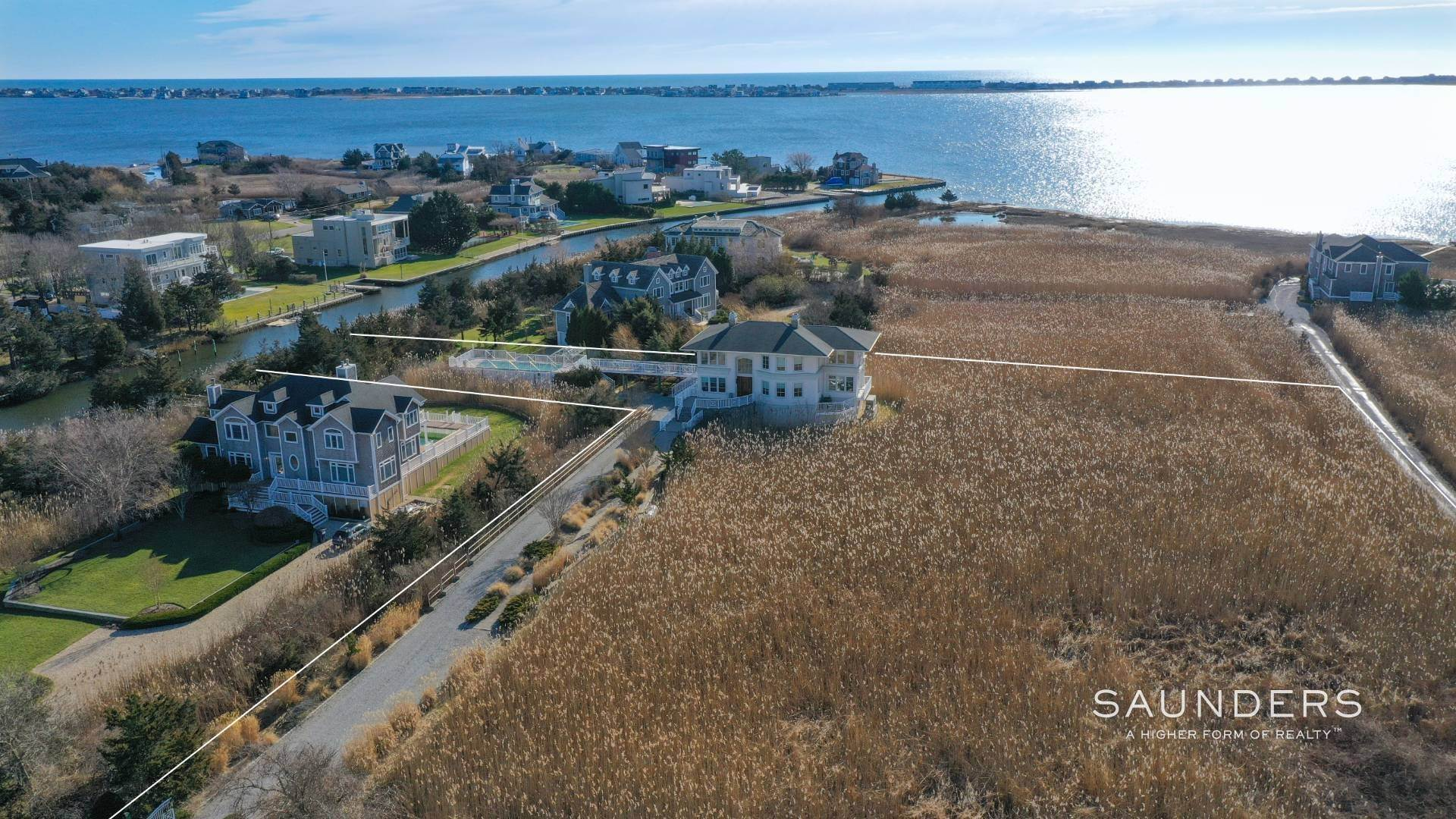 2. Single Family Homes for Sale at Celebrate Nature's Beauty: Sunsets, Water Views, Pool & Dock 5 Bay Meadow Lane, Westhampton, Southampton Town, NY 11977