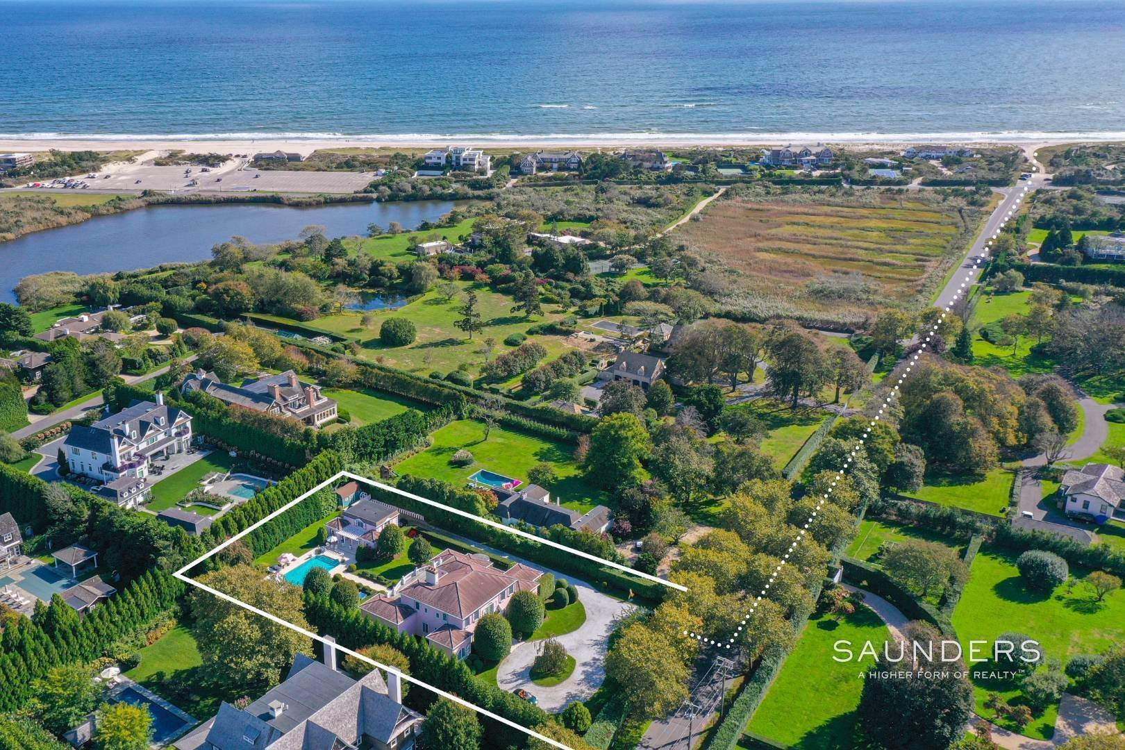 Single Family Homes for Sale at Elegant Estate Section Home, Moments To The Ocean 622 Halsey Neck Lane, Southampton, Southampton Town, NY 11968