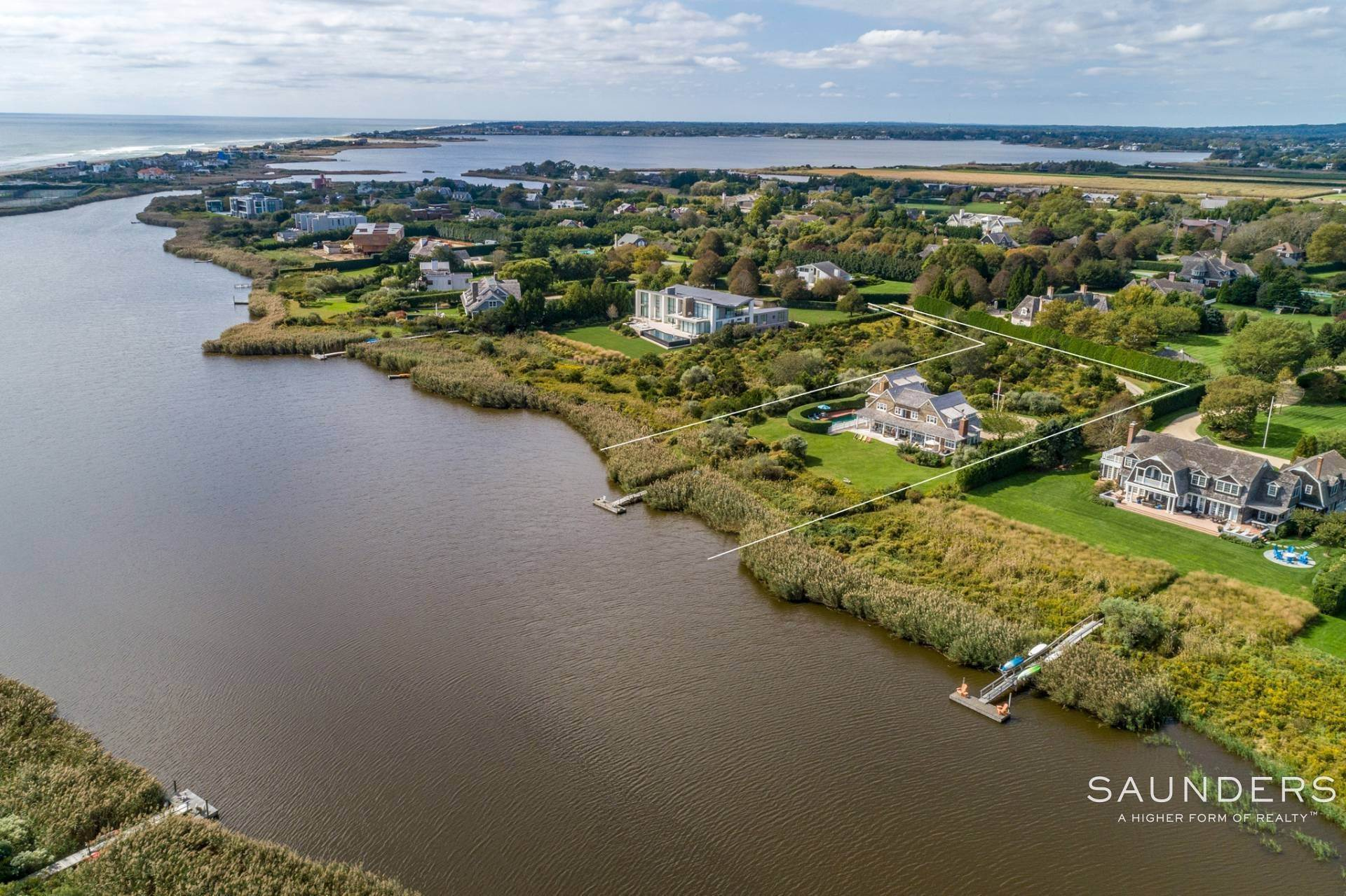 Single Family Homes for Sale at Bridgehampton South Waterfront With Dock & Ocean View 87 Rose Way, Bridgehampton, Southampton Town, NY 11932