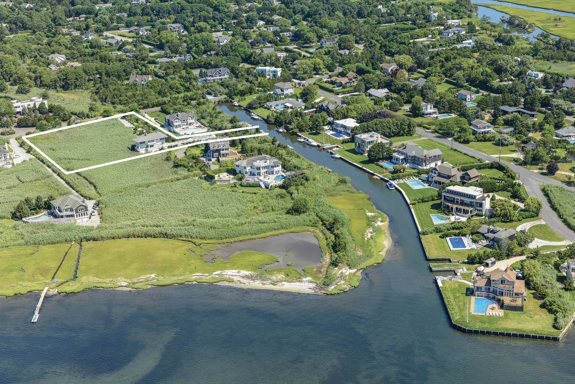 Single Family Homes for Sale at Celebrate Nature's Beauty: Sunsets, Water Views, Pool & Dock 5 Bay Meadow Lane, Westhampton, Southampton Town, NY 11977